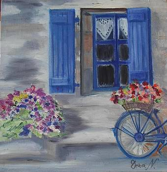 Windows and bicycle blue by Daniela Nedelea