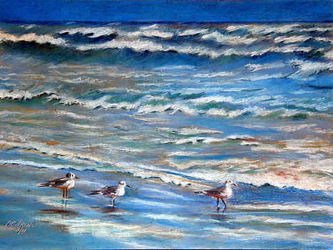 Windy Day at the Gulf    Pastel    by Antonia Citrino