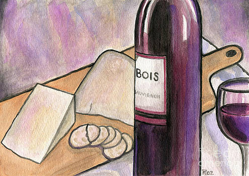 Wine and Cheese Tonight by Roz Abellera Art