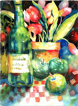 Wine and Tulips by Ann  Nicholson