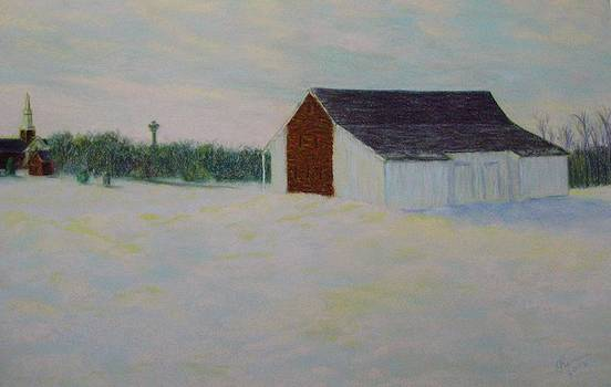 Winter at McPhersons Barn Gettysburg by Joann Renner