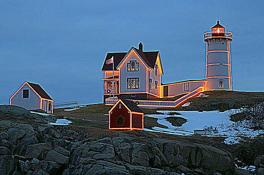 Winter at Nubble Light by Suzanne DeGeorge