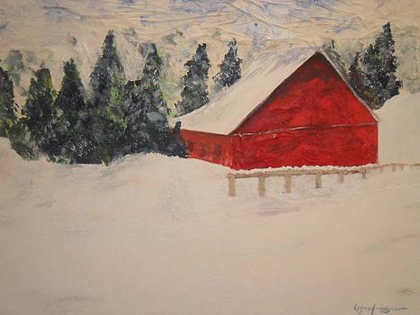Winter Barn by Rozenia Cunningham