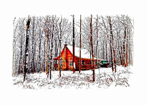Randall Branham - Winter Cabin on a  Hill