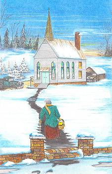 Winter Church Scene by David Gallagher