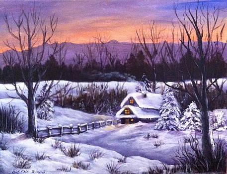 Winter Evening by Bozena Zajaczkowska