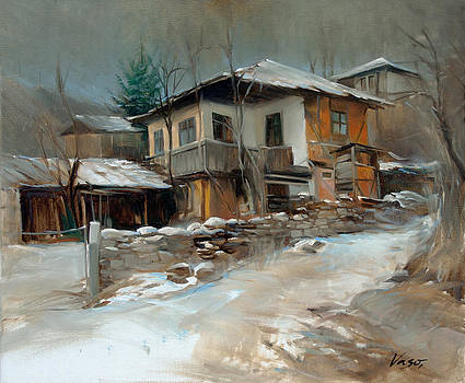 Winter in village by Vasil Vasilev