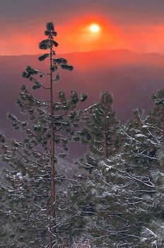 Winter Mountain Sunset by Stephen  Vecchiotti