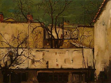 Winter roofs in Bucharest - triptic by Andreea O'Hara