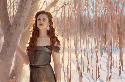 Winter Warmth - Figure In The Landscape by Karen Whitworth