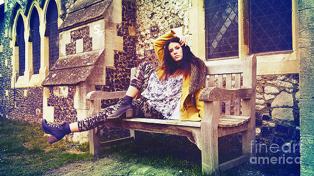 Woman and her church bench by Marek Salajka