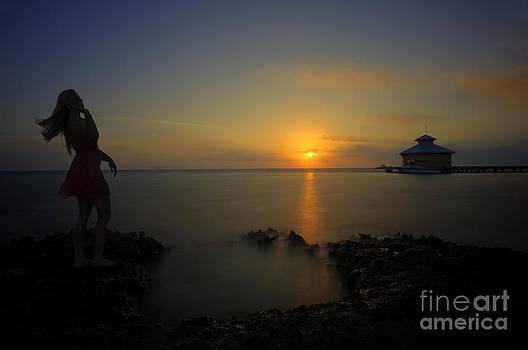 Dan Friend - Woman up at sunrise on beach