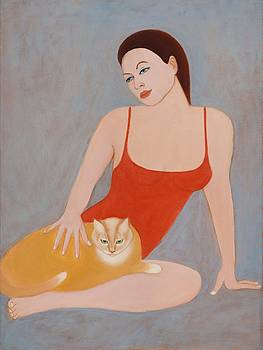Woman with a cat by Svetlana Neal