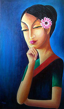 Woman with a Flower by Sazeed Shakya