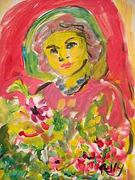 Woman with flowers by Relly Peckett