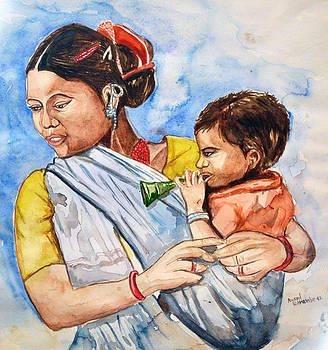 Woman With Kid by Anand Karambe