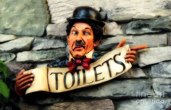 Wood Carved Toilet Sign by Marjorie Imbeau