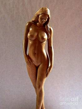 Wood Sculpture of Naked Woman - Front View by Carlos Baez Barrueto