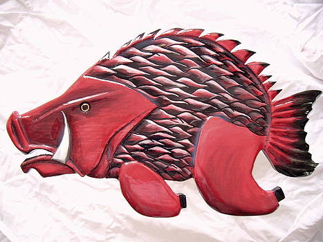 Wooden Hog Fish number seven by Lisa Ruggiero