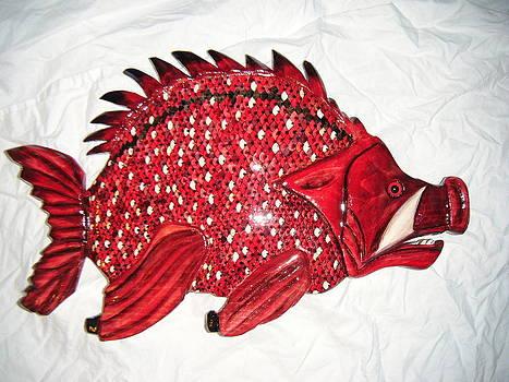 Wooden Hog Fish number three by Lisa Ruggiero
