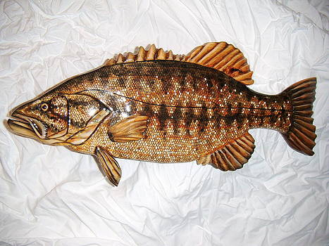 Wooden Small Mouth Bass number ten by Lisa Ruggiero