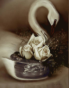 Wooden Swan and Roses by Bonnie Willis