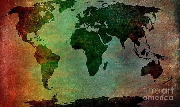 World Map Cosmic Rainbow by Sharon Marcella Marston