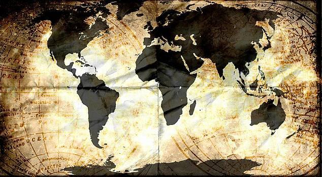 World Map Grunge by Sharon Marcella Marston
