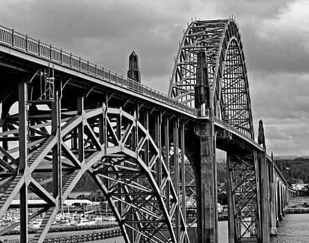 Yaquina Bay Bridge BW by Thomas J Rhodes