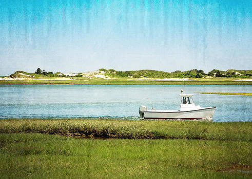 Yarmouth Port Fishing Boat in Green and Blue by Brooke Ryan