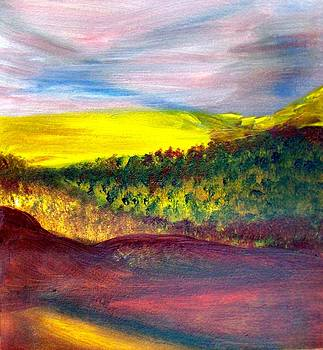 Yellow and Red Landscape by Michaela Kraemer