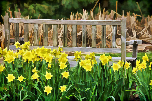 David Letts - Yellow Flowers by the Weathered Bench