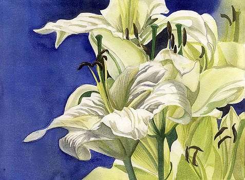 Alfred Ng - yellow lilies with blue