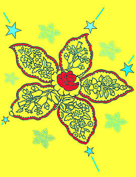 Yellow Paisley Design by Christine Perry