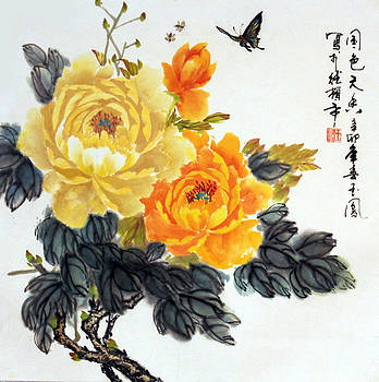 Yellow Peonies by Yufeng Wang