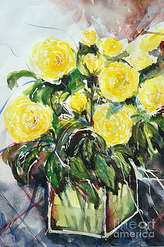Yellow Roses- Painting by Ismeta Gruenwald