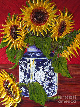 Yellow Sunflowers in a Vase by Paris Wyatt Llanso