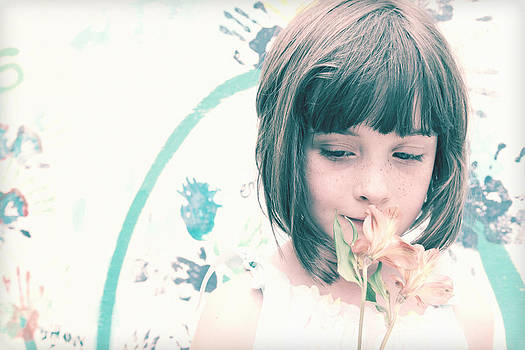 Young Girl with Flowers by Jan Marvin by Jan Marvin
