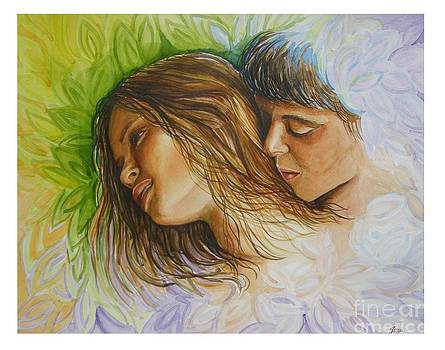 Young lovers tenderness by Gina Pardo