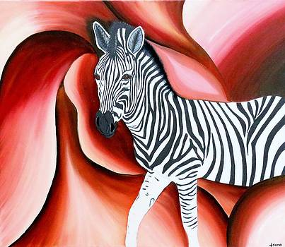 Zebra - Oil Painting by Rejeena Niaz