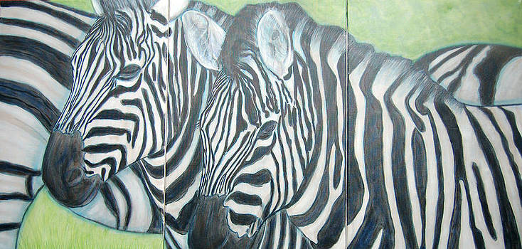 Zebra Triptych general by Isabelle Ehly