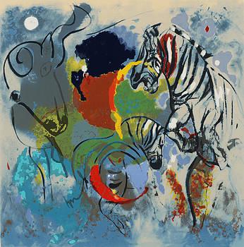 Jane Deakin - Zebras, 1988 Screen Print