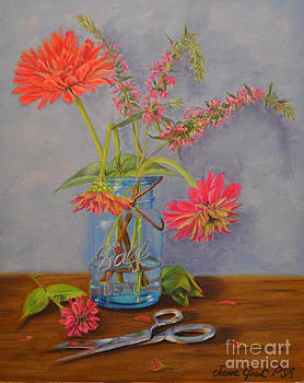 Zinnias from the Garden by Joanne Grant