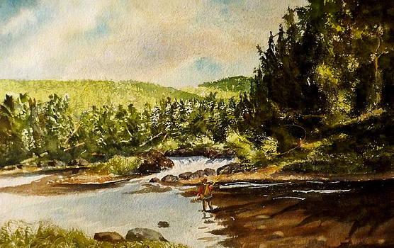 Blue Mountain Fly Fisherman by Harding Bush