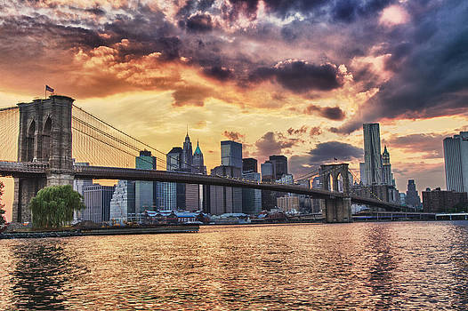 Sunset Over the Brooklyn Bridge by Val Black Russian Tourchin