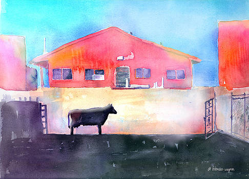 Cow Contemplating Her Escape by Arline Wagner