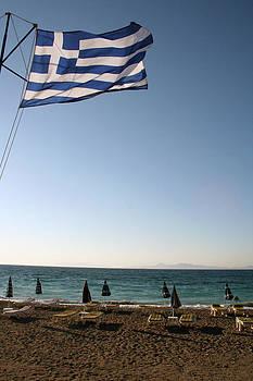 Greek Flag over Sandy Beaches by La Dolce Vita