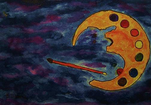 Mr. Moon Paints At Night by Bonnie Wright