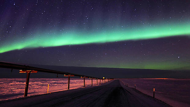 Northern Lights Over Oil Pipeline by Wyatt Rivard