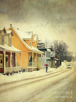 Sandra Cunningham - Snowy winter road in rural town